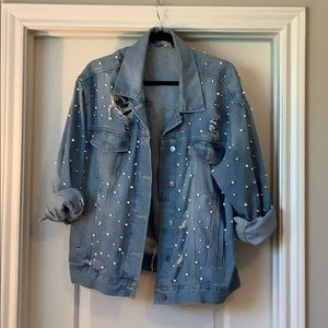 Free People Pearl and Ripped Jean Jacket